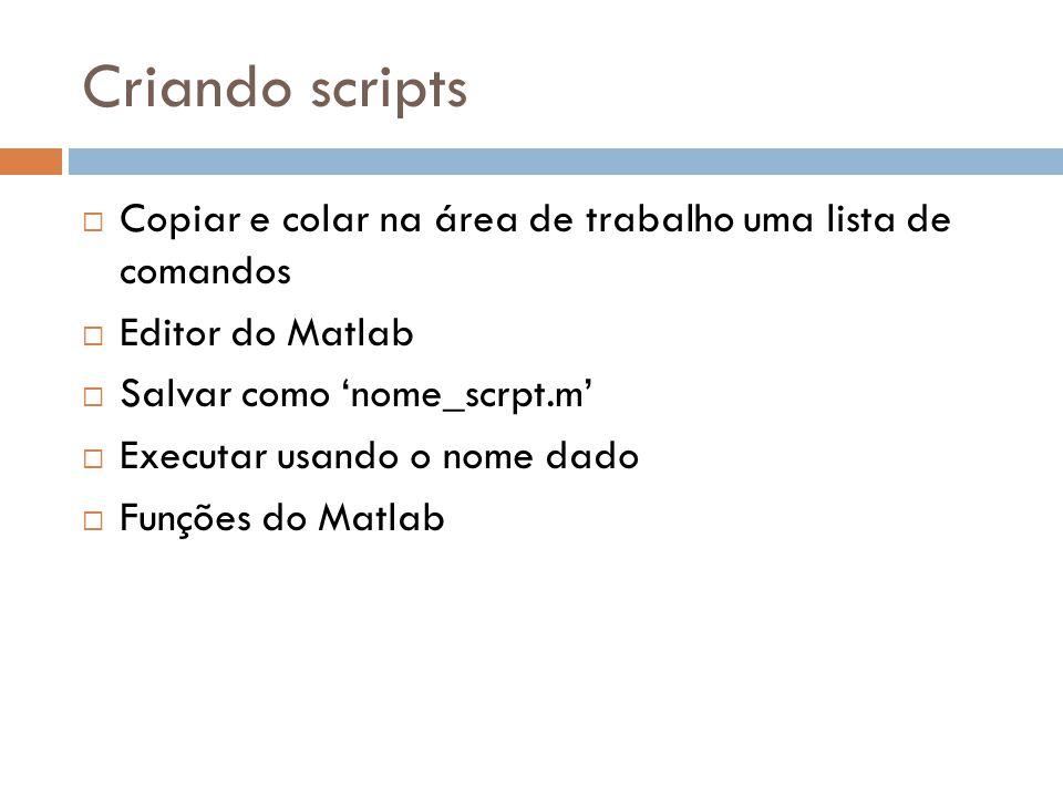Criando scripts Copiar e colar na área de trabalho uma lista de comandos. Editor do Matlab. Salvar como 'nome_scrpt.m'
