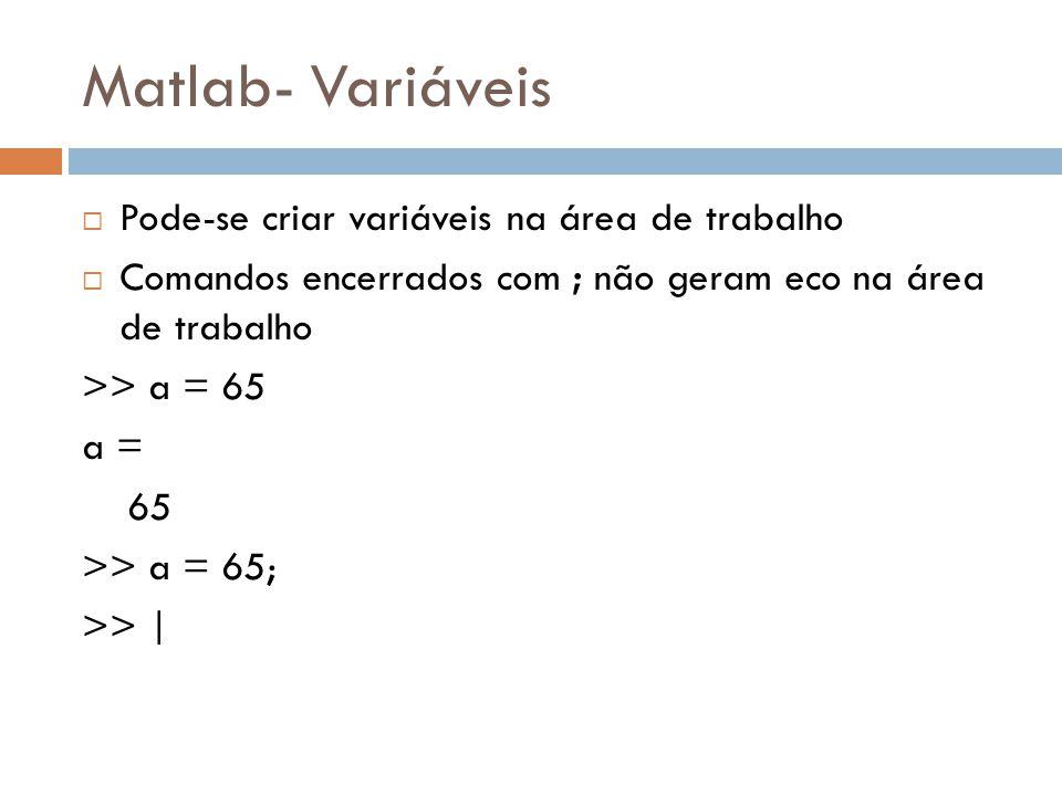Matlab- Variáveis Pode-se criar variáveis na área de trabalho