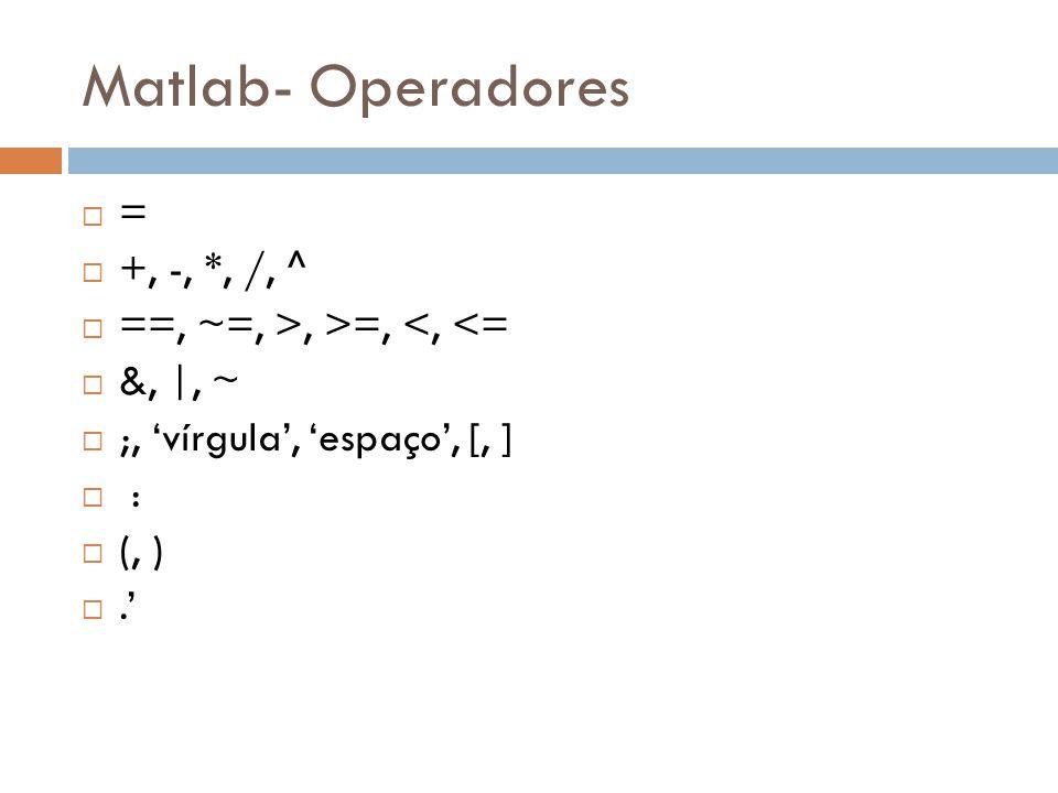 Matlab- Operadores = +, -, *, /, ^ ==, ~=, >, >=, <, <=