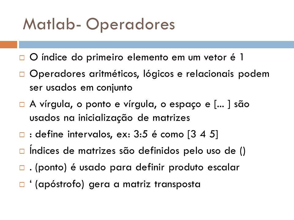 Matlab- Operadores O índice do primeiro elemento em um vetor é 1
