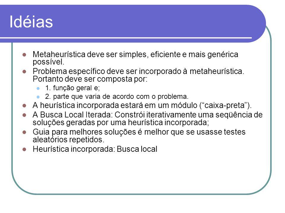 Idéias Metaheurística deve ser simples, eficiente e mais genérica possível.