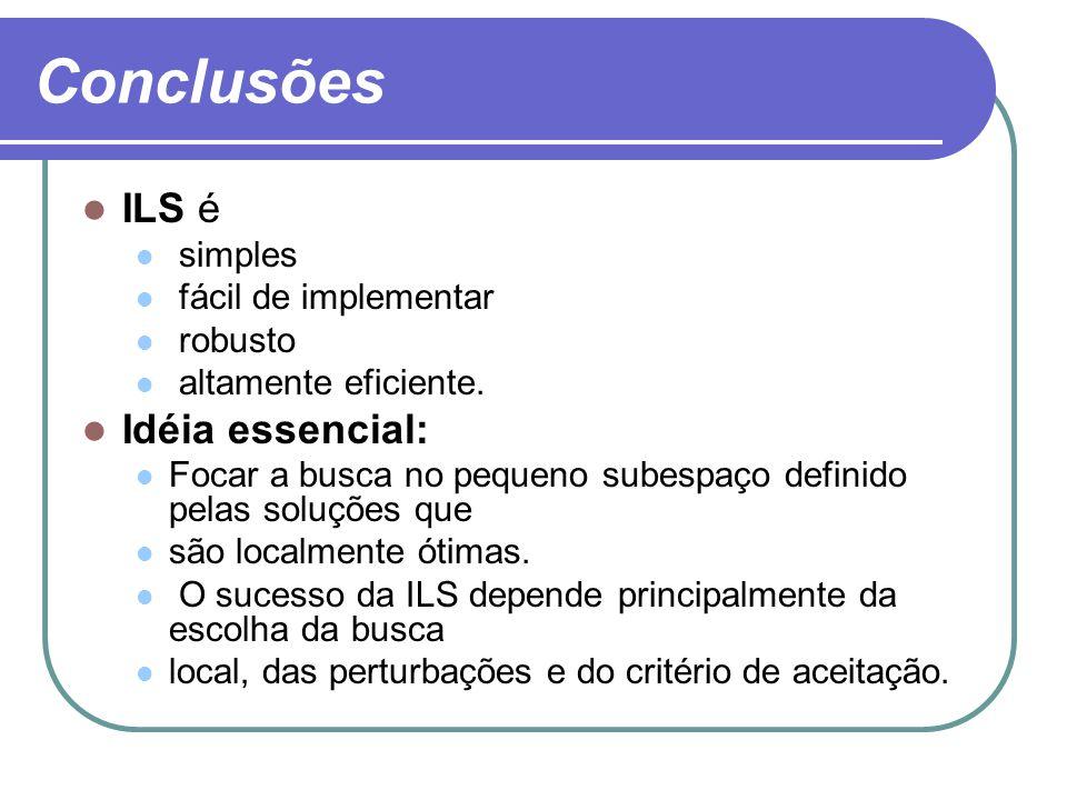 Conclusões ILS é Idéia essencial: simples fácil de implementar robusto