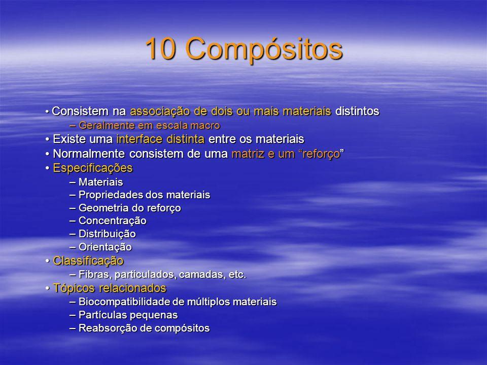 10 Compósitos • Existe uma interface distinta entre os materiais