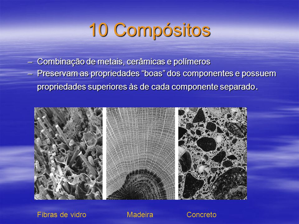 10 Compósitos Combinação de metais, cerâmicas e polímeros
