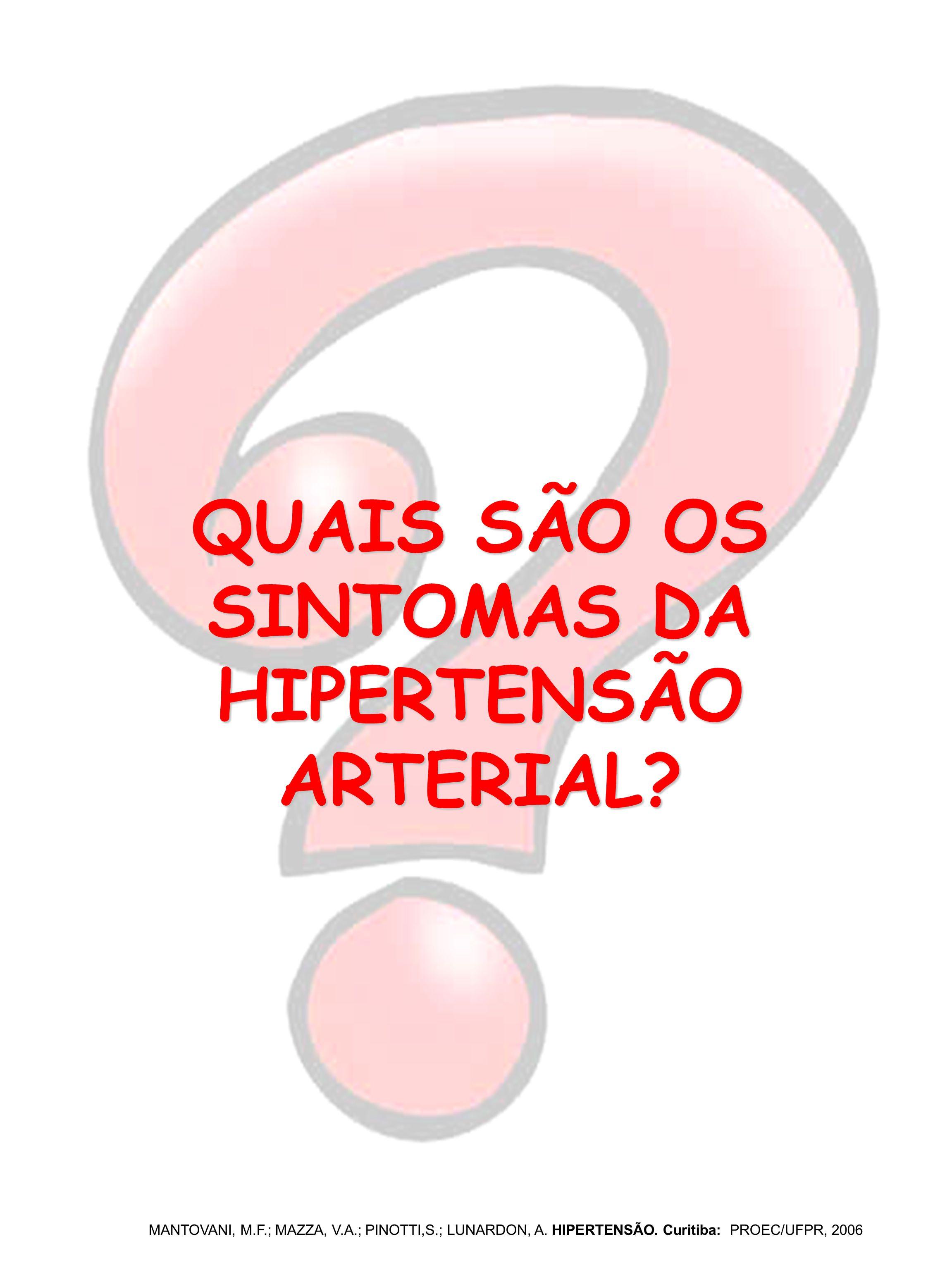 QUAIS SÃO OS SINTOMAS DA HIPERTENSÃO ARTERIAL