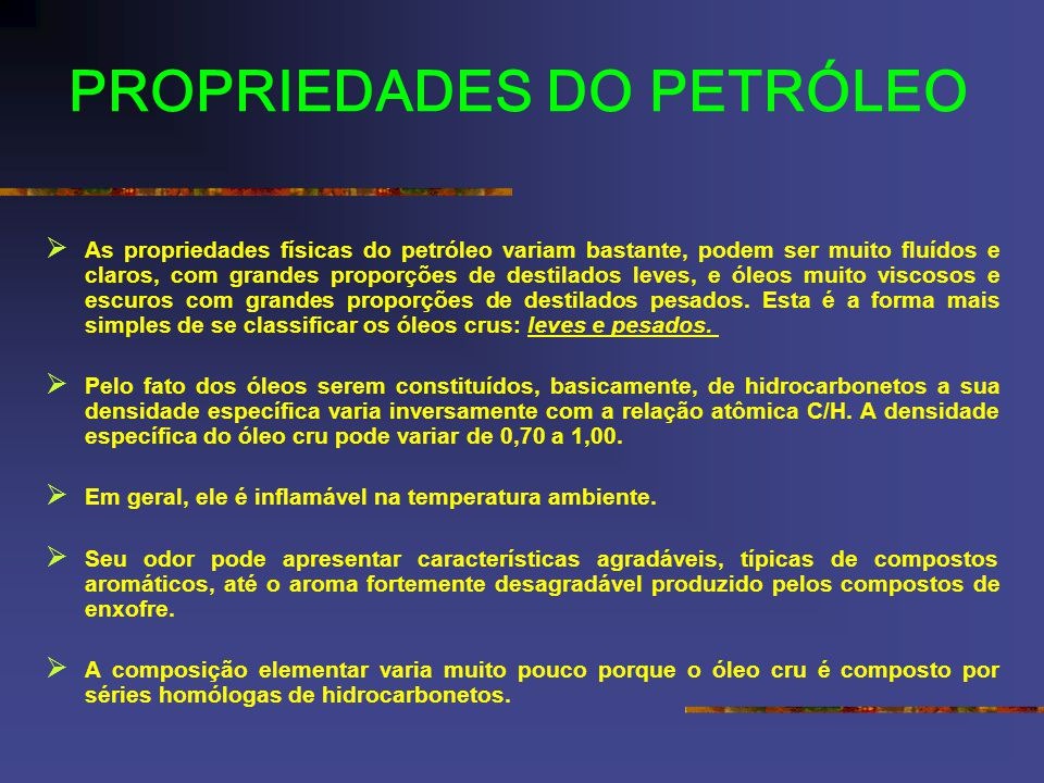 PROPRIEDADES DO PETRÓLEO