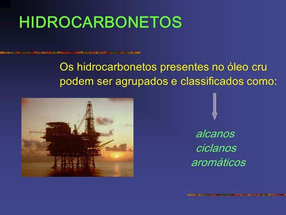 HIDROCARBONETOS Os hidrocarbonetos presentes no óleo cru