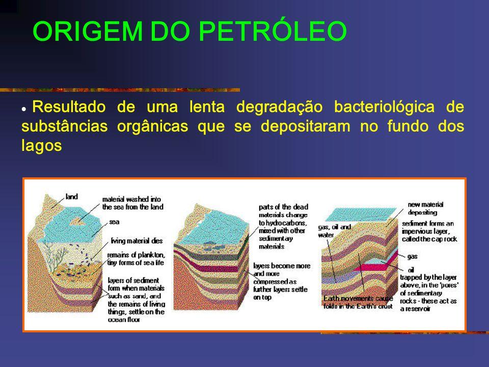 ORIGEM DO PETRÓLEO · Resultado de uma lenta degradação bacteriológica de substâncias orgânicas que se depositaram no fundo dos lagos.