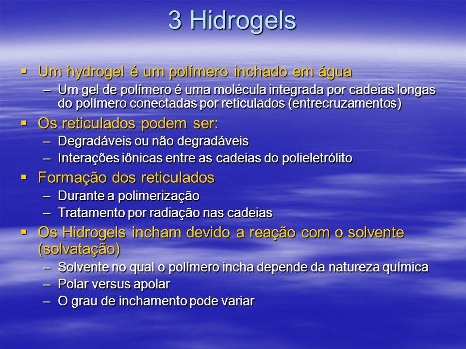 3 Hidrogels Um hydrogel é um polímero inchado em água