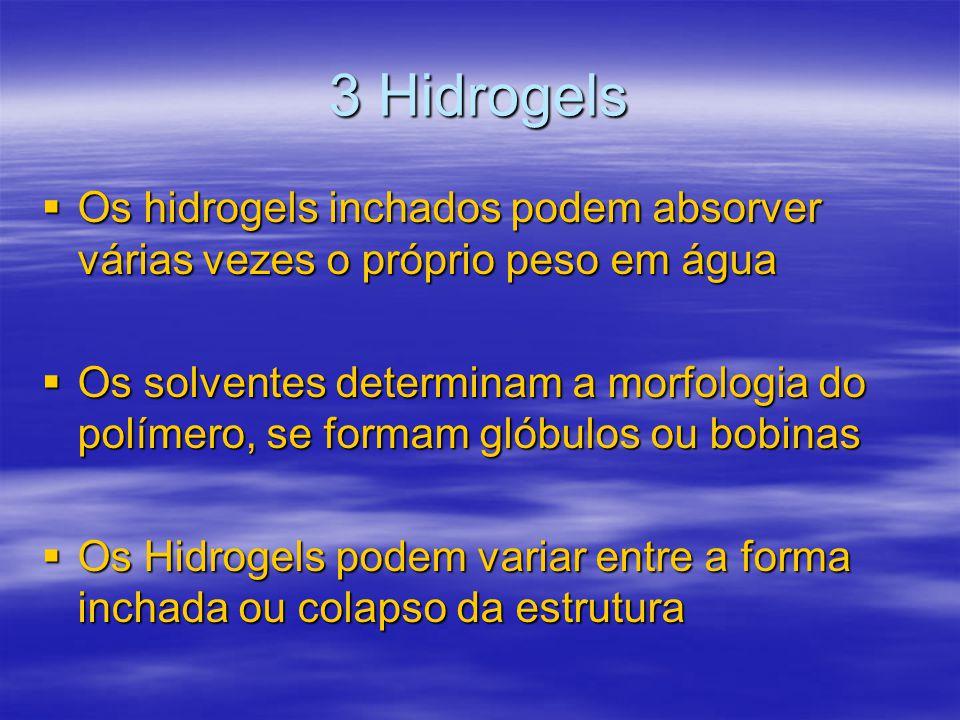 3 Hidrogels Os hidrogels inchados podem absorver várias vezes o próprio peso em água.