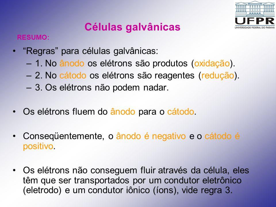 Células galvânicas Regras para células galvânicas: