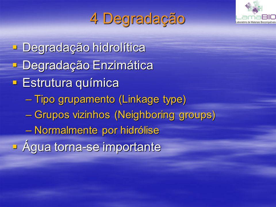 4 Degradação Degradação hidrolítica Degradação Enzimática