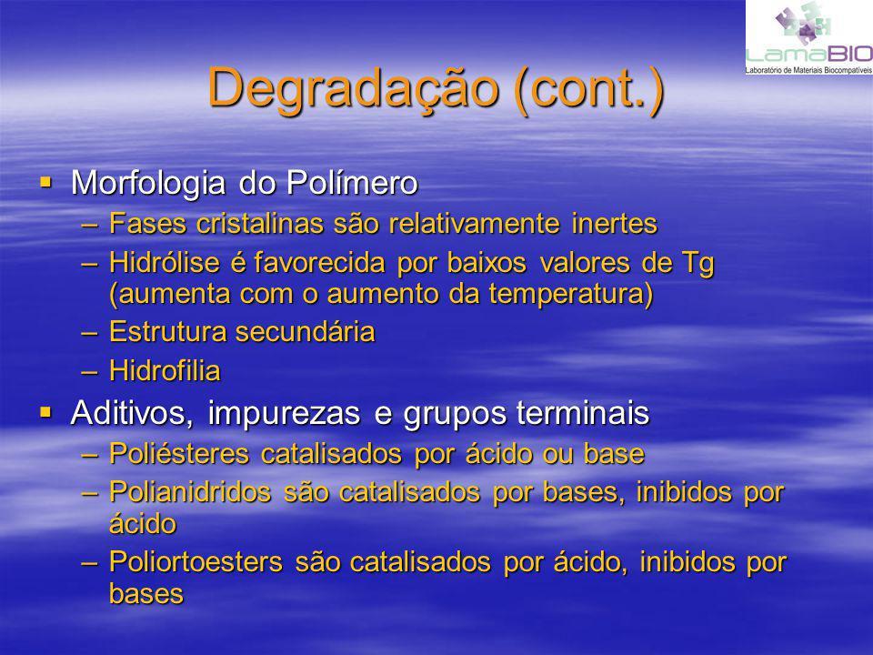 Degradação (cont.) Morfologia do Polímero