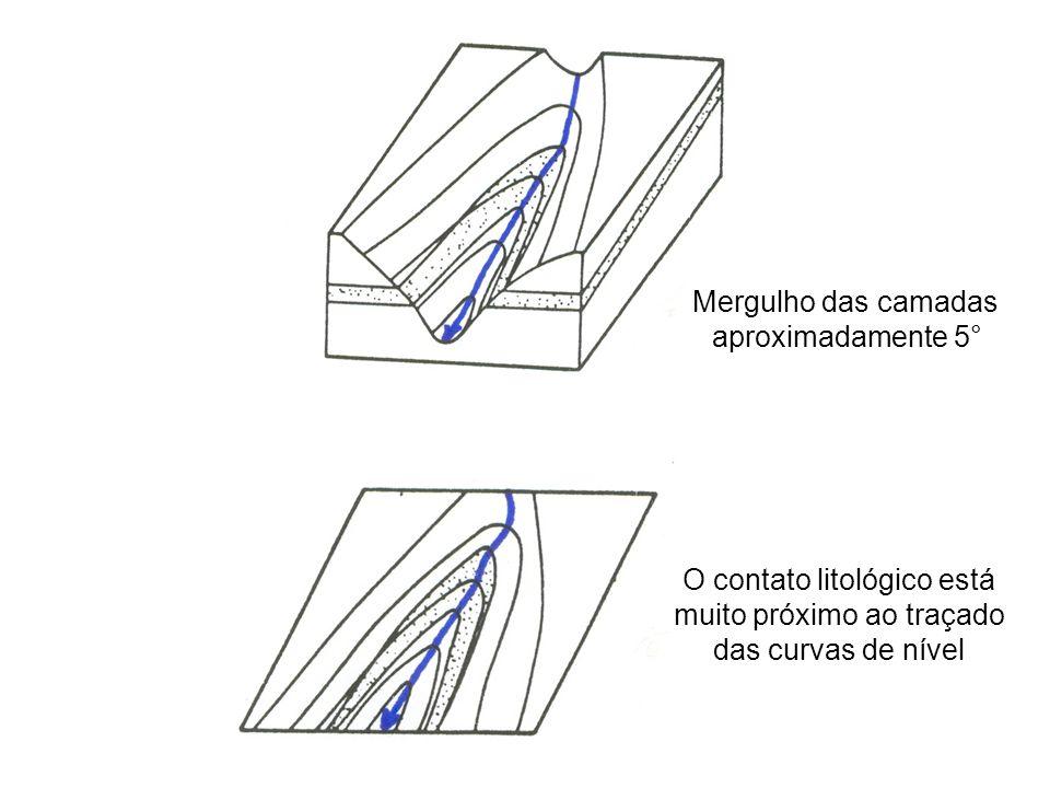 O contato litológico está muito próximo ao traçado das curvas de nível