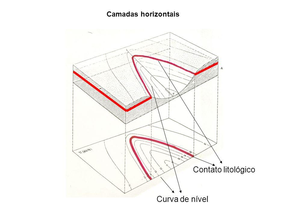 Camadas horizontais Contato litológico Curva de nível
