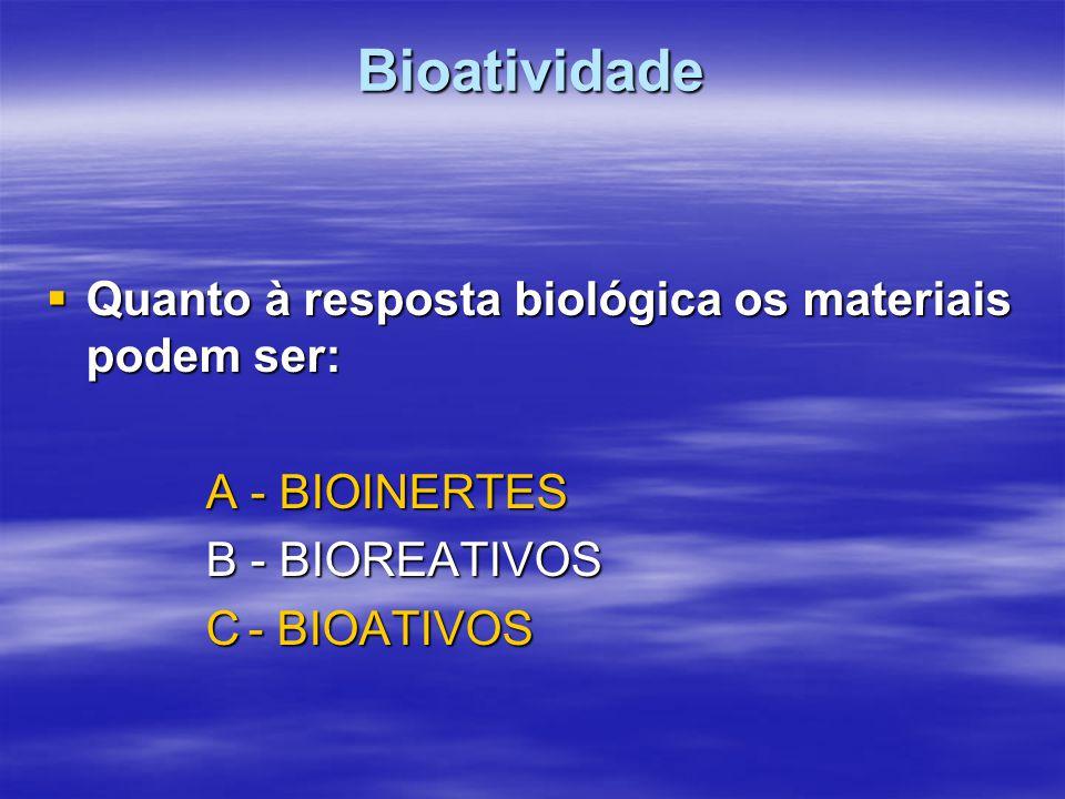 Bioatividade Quanto à resposta biológica os materiais podem ser: