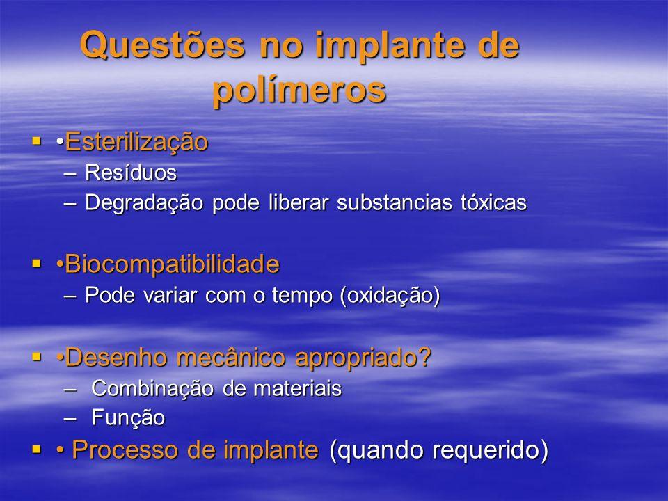 Questões no implante de polímeros