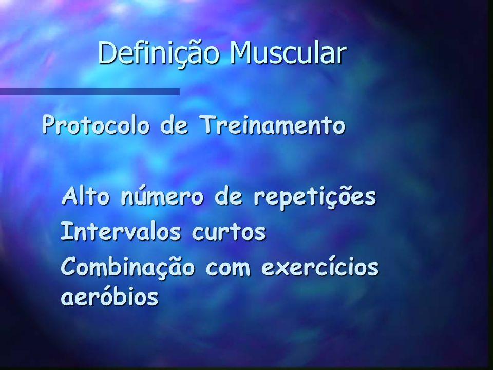 Definição Muscular Protocolo de Treinamento Alto número de repetições