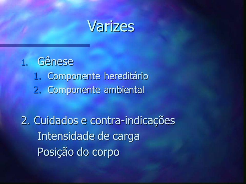 Varizes Gênese 2. Cuidados e contra-indicações Intensidade de carga