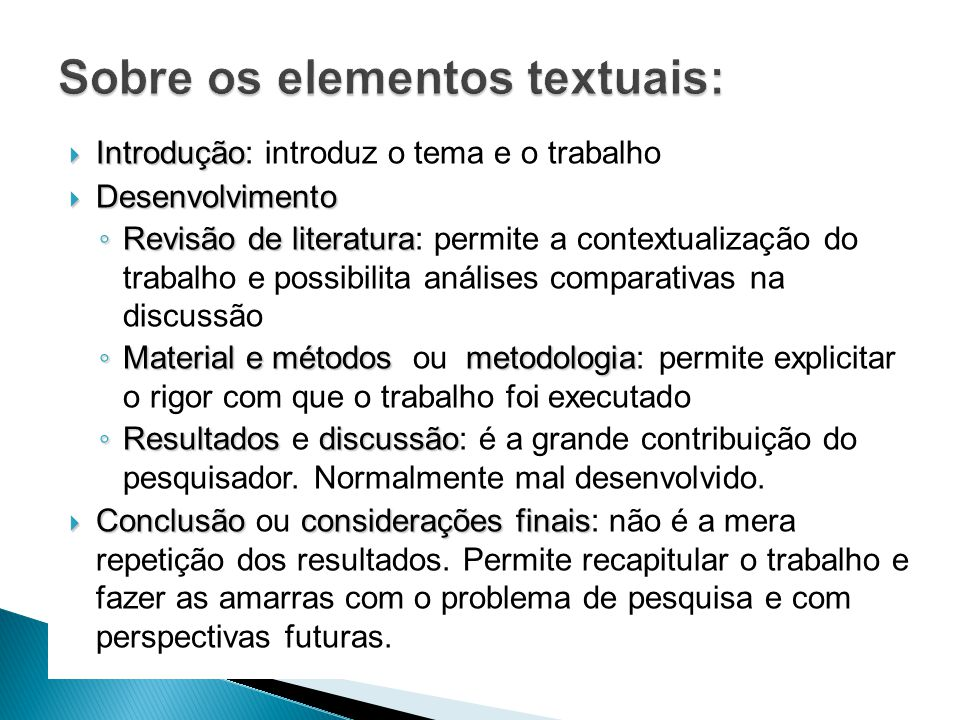 Sobre os elementos textuais: