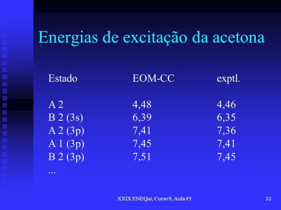 Energias de excitação da acetona