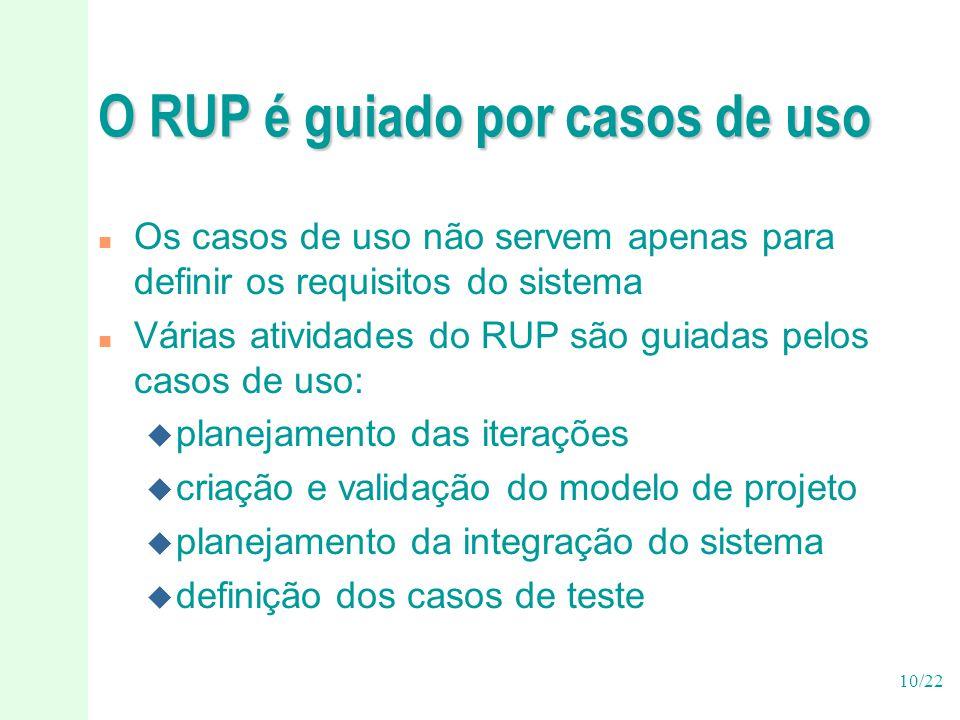 O RUP é guiado por casos de uso