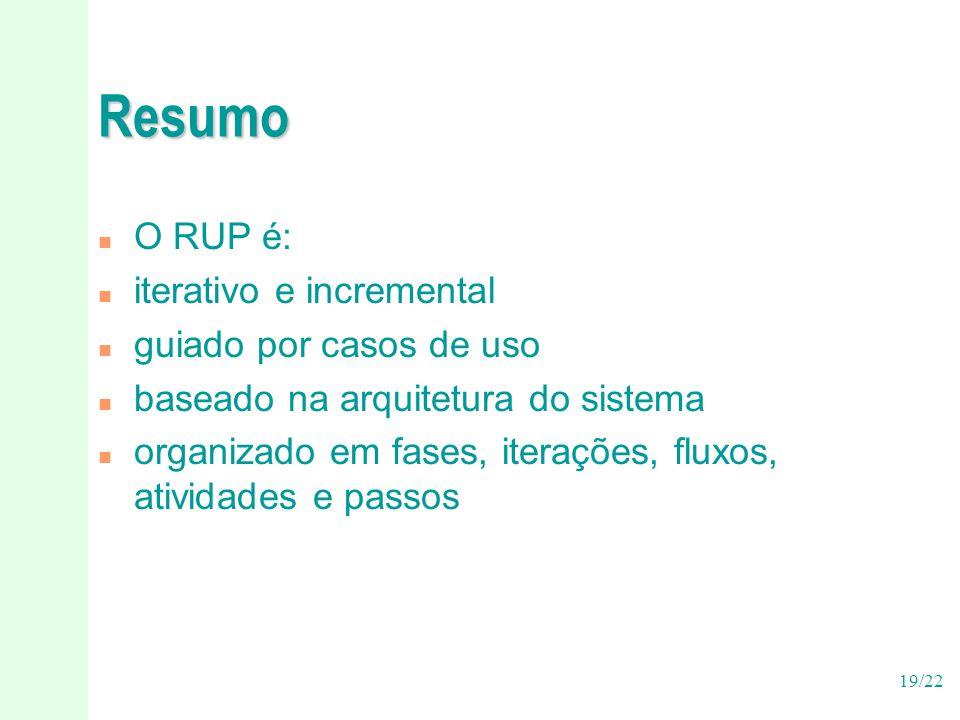 Resumo O RUP é: iterativo e incremental guiado por casos de uso