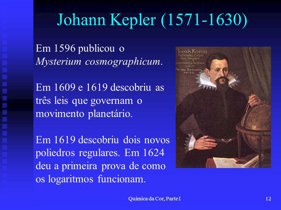 Johann Kepler (1571-1630) Em 1596 publicou o Mysterium cosmographicum.