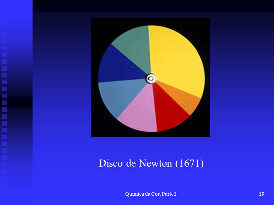 Disco de Newton (1671) Química da Cor, Parte I