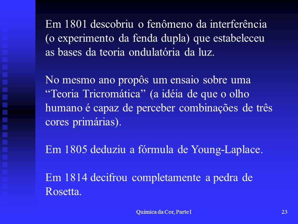 Em 1805 deduziu a fórmula de Young-Laplace.