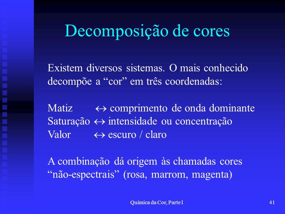 Decomposição de cores Existem diversos sistemas. O mais conhecido decompõe a cor em três coordenadas: