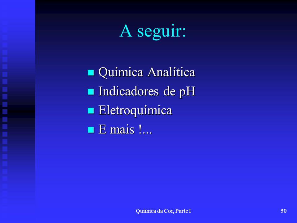 A seguir: Química Analítica Indicadores de pH Eletroquímica