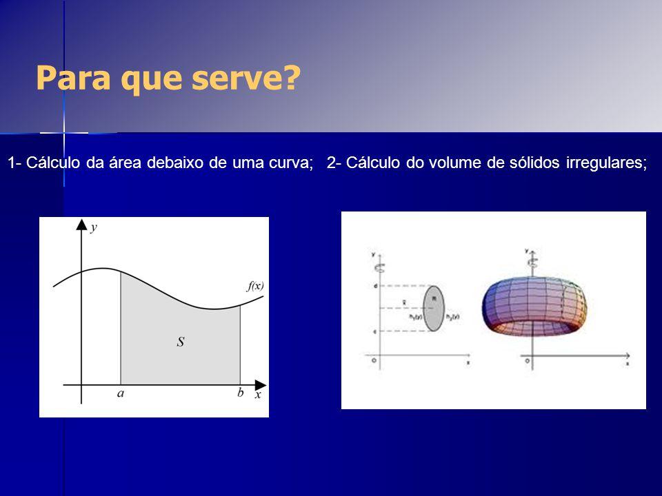 Para que serve 1- Cálculo da área debaixo de uma curva;