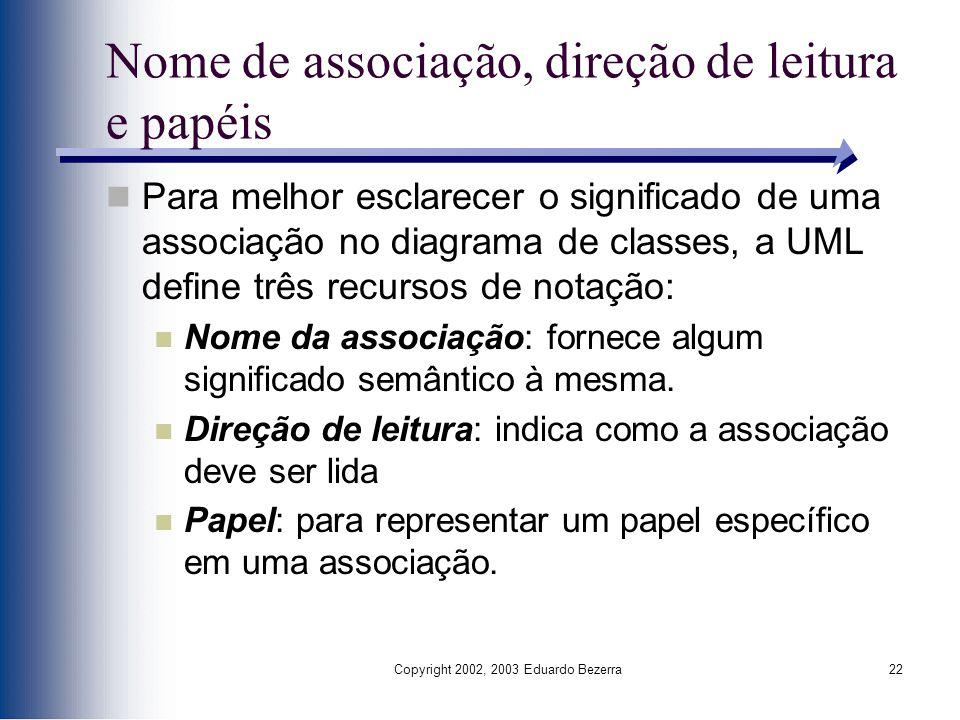 Nome de associação, direção de leitura e papéis