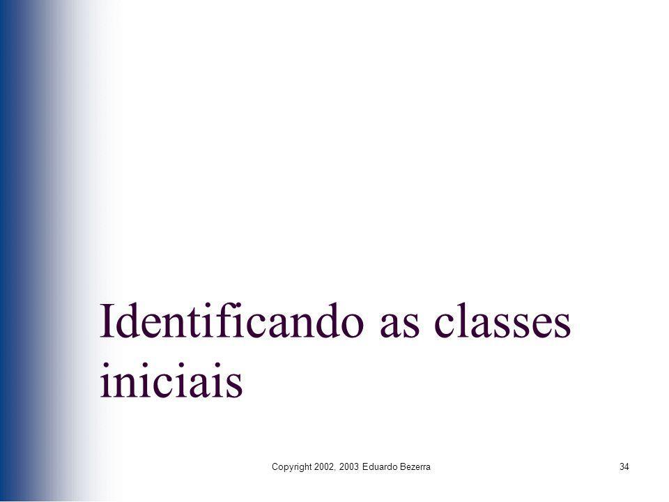 Identificando as classes iniciais