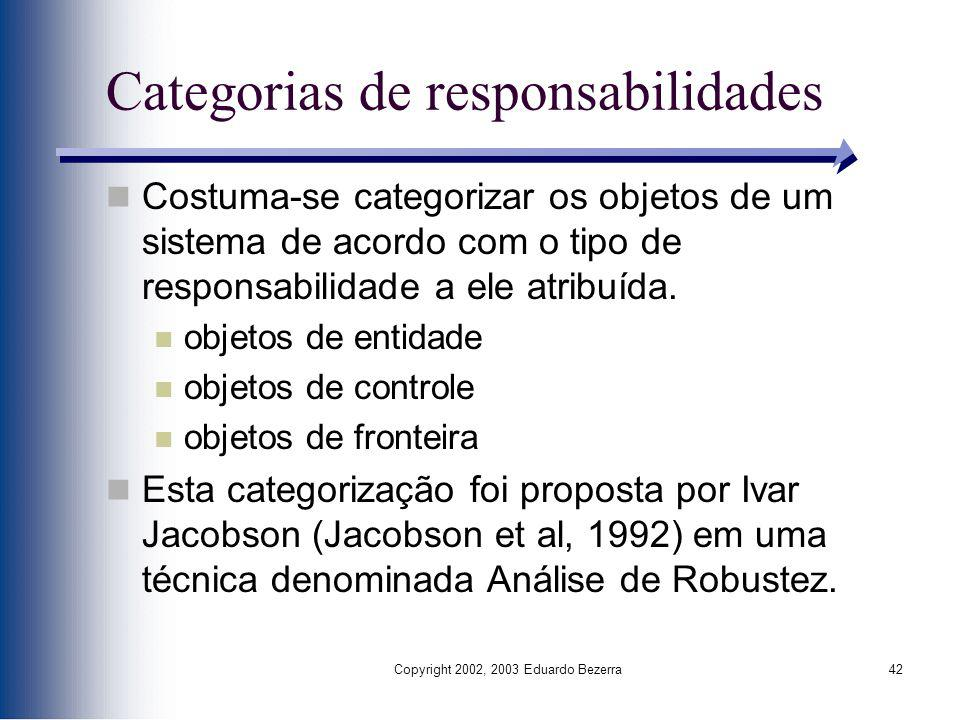 Categorias de responsabilidades