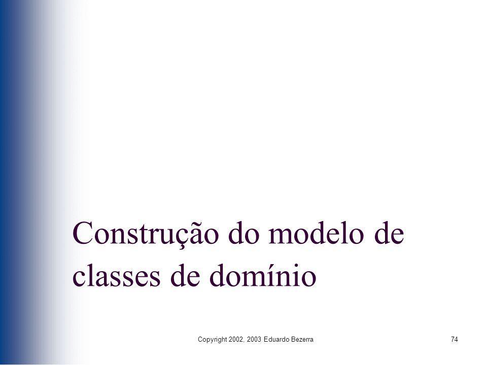 Construção do modelo de classes de domínio
