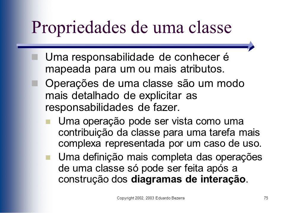 Propriedades de uma classe