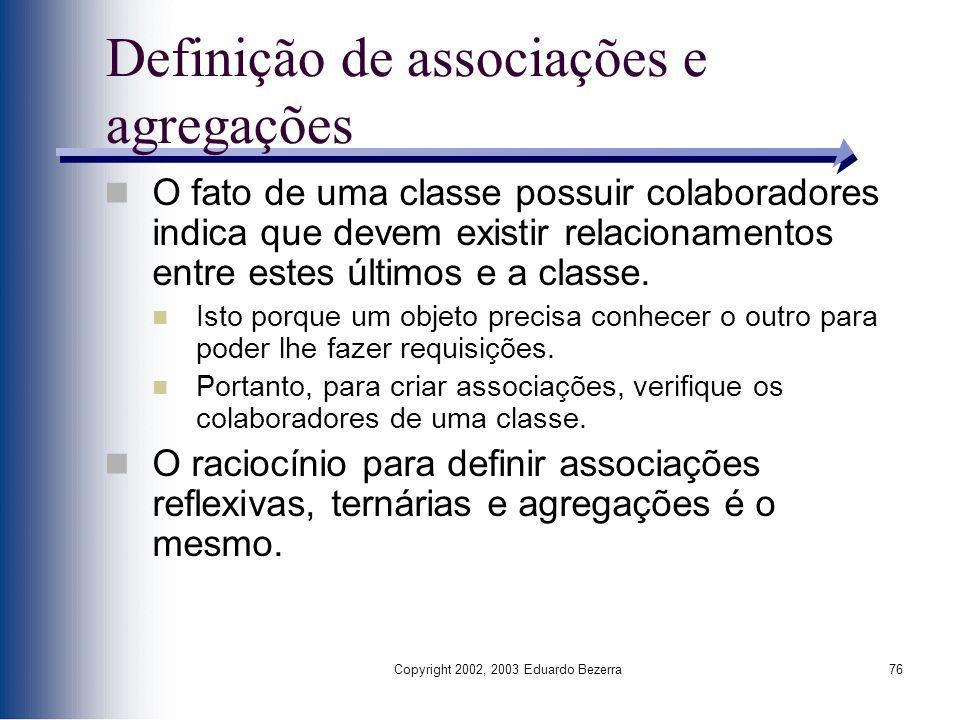 Definição de associações e agregações
