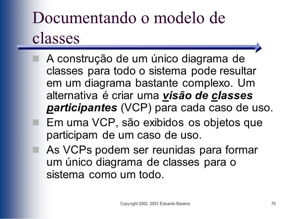 Documentando o modelo de classes