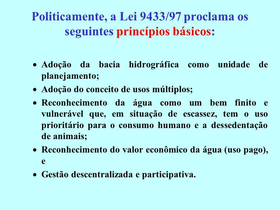 Politicamente, a Lei 9433/97 proclama os seguintes princípios básicos: