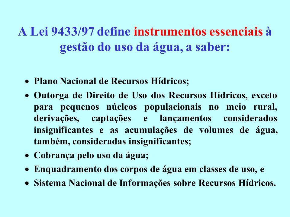 A Lei 9433/97 define instrumentos essenciais à gestão do uso da água, a saber: