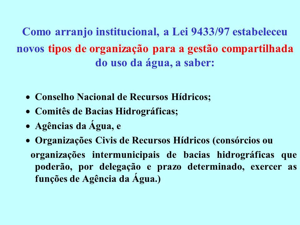Como arranjo institucional, a Lei 9433/97 estabeleceu