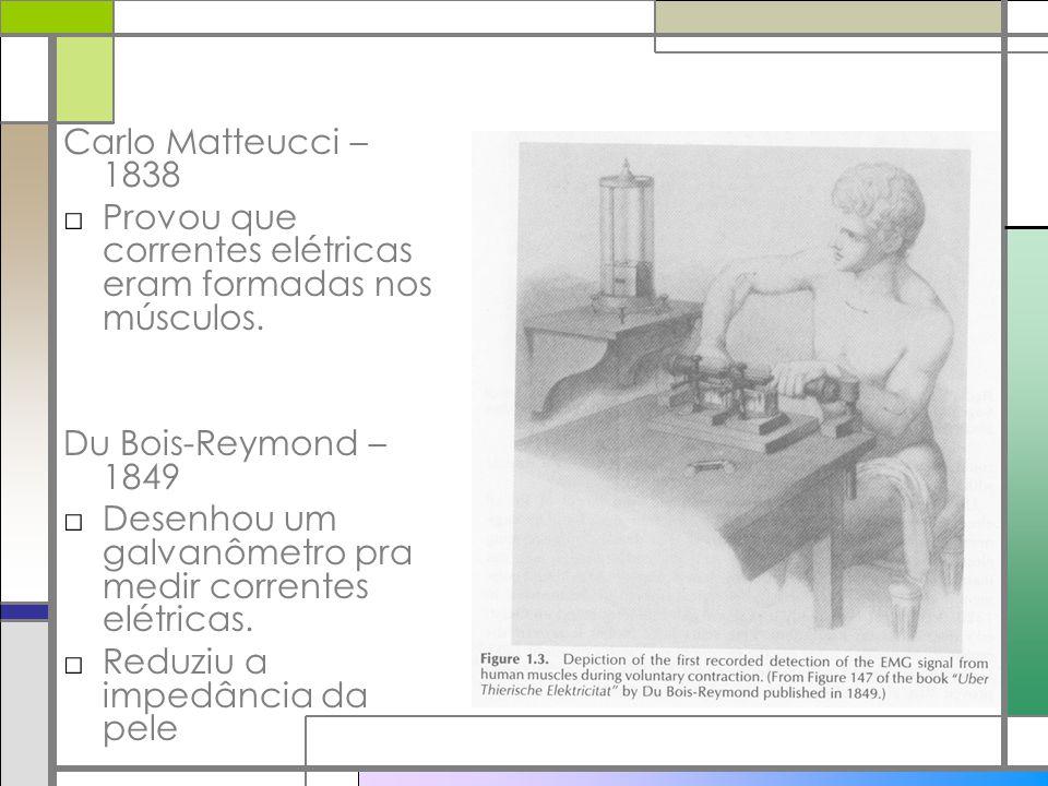 Carlo Matteucci – 1838 Provou que correntes elétricas eram formadas nos músculos. Du Bois-Reymond – 1849.