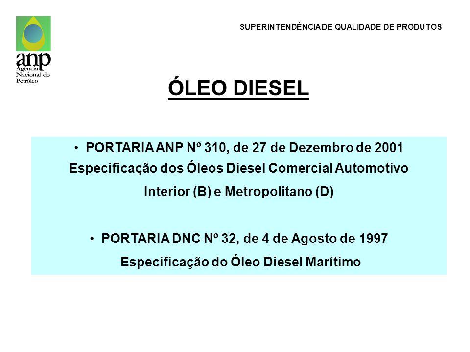ÓLEO DIESEL PORTARIA ANP Nº 310, de 27 de Dezembro de 2001