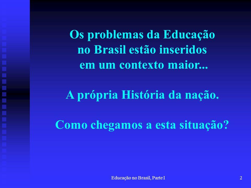 Os problemas da Educação no Brasil estão inseridos