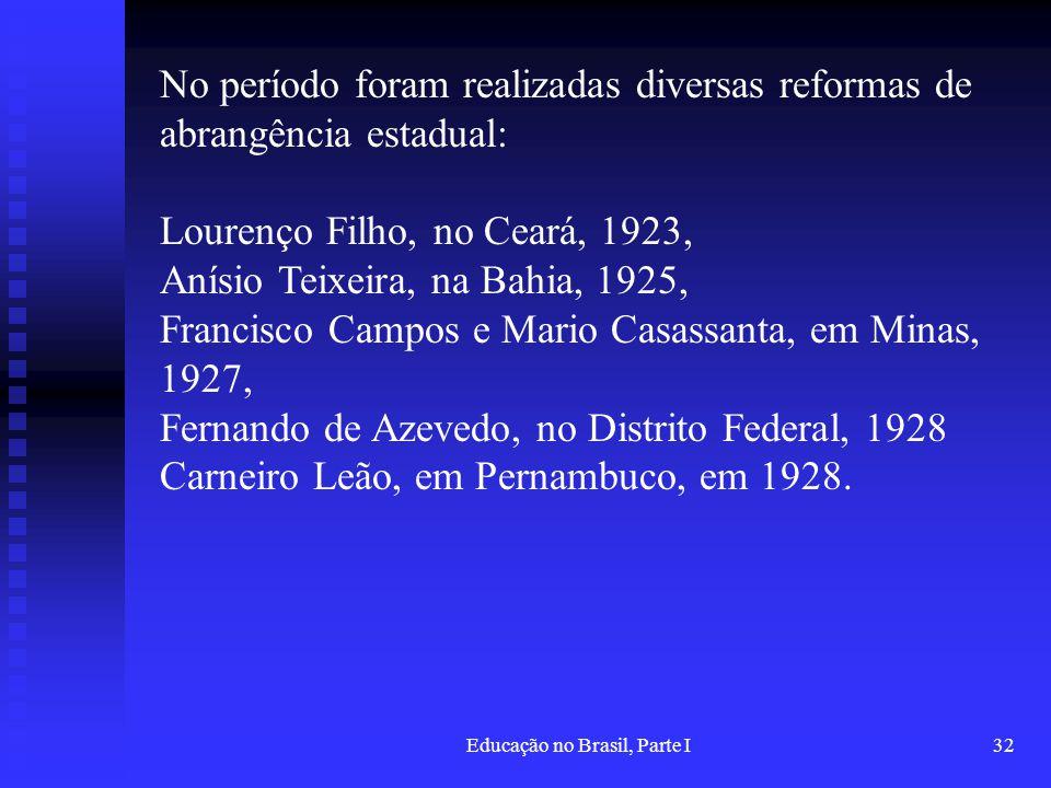 Educação no Brasil, Parte I