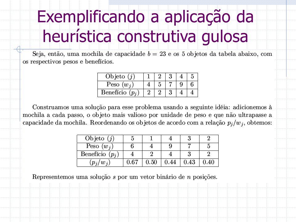 Exemplificando a aplicação da heurística construtiva gulosa
