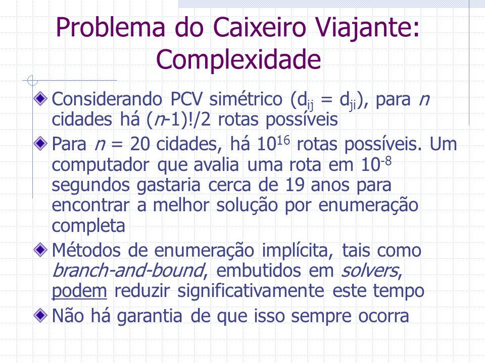 Problema do Caixeiro Viajante: Complexidade