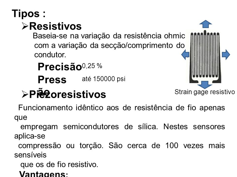 Tipos : Resistivos Precisão Pressão Piezoresistivos Vantagens: